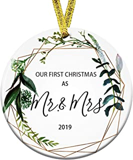 Kooer First Christmas Married Mr Mrs Wedding Burgundy Floral Ceramic Round Decoration Ornament Keepsake Wedding Ornament Mr & Mrs Gift for The Couple (First Christmas as Mr & Mrs)