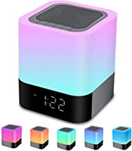 Bluetooth Speaker Night Lights, Alarm Clock Bluetooth Speaker MP3 Player, Touch Control Bedside lamp, Dimmable RGB Multico...