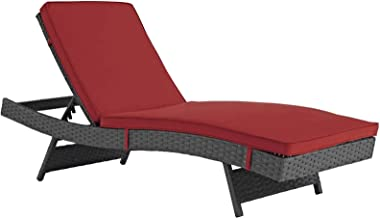 Modway Sojourn Wicker Rattan Outdoor Patio Sunbrella Fabric Chaise Lounge in Canvas Red