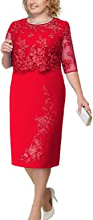 ROSE IN THE BOX Womens Plus Size Floral Lace Formal Work Pencil Dress Elegant Evening Party Cocktail Midi Dresses