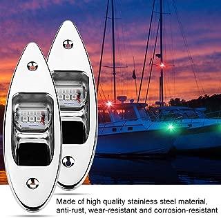 Qiilu LED Navigation Lights for Boats, 2Pcs Marine Boat Yacht Light 12V Stainless Steel, Waterproof, LED Bow Navigation Lights Pontoons Sailing Signal Lights,Teardrop Bow Lights, Green/Red