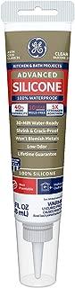 GE GE284 Advanced Silicone 2 Kitchen & Bath Sealant Caulk Squeeze Tube, 2.8oz, Clear