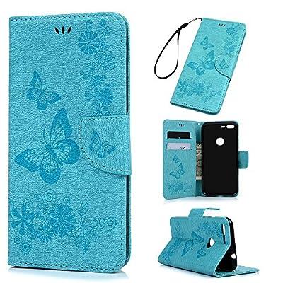 "Badalink Google Pixel Wallet Flip Stand Case (5.0"") Embossed Butterflies PU Leather Case with Shockproof TPU Inner Bumper Slim Protective Card Slots Cover for Google Pixel"