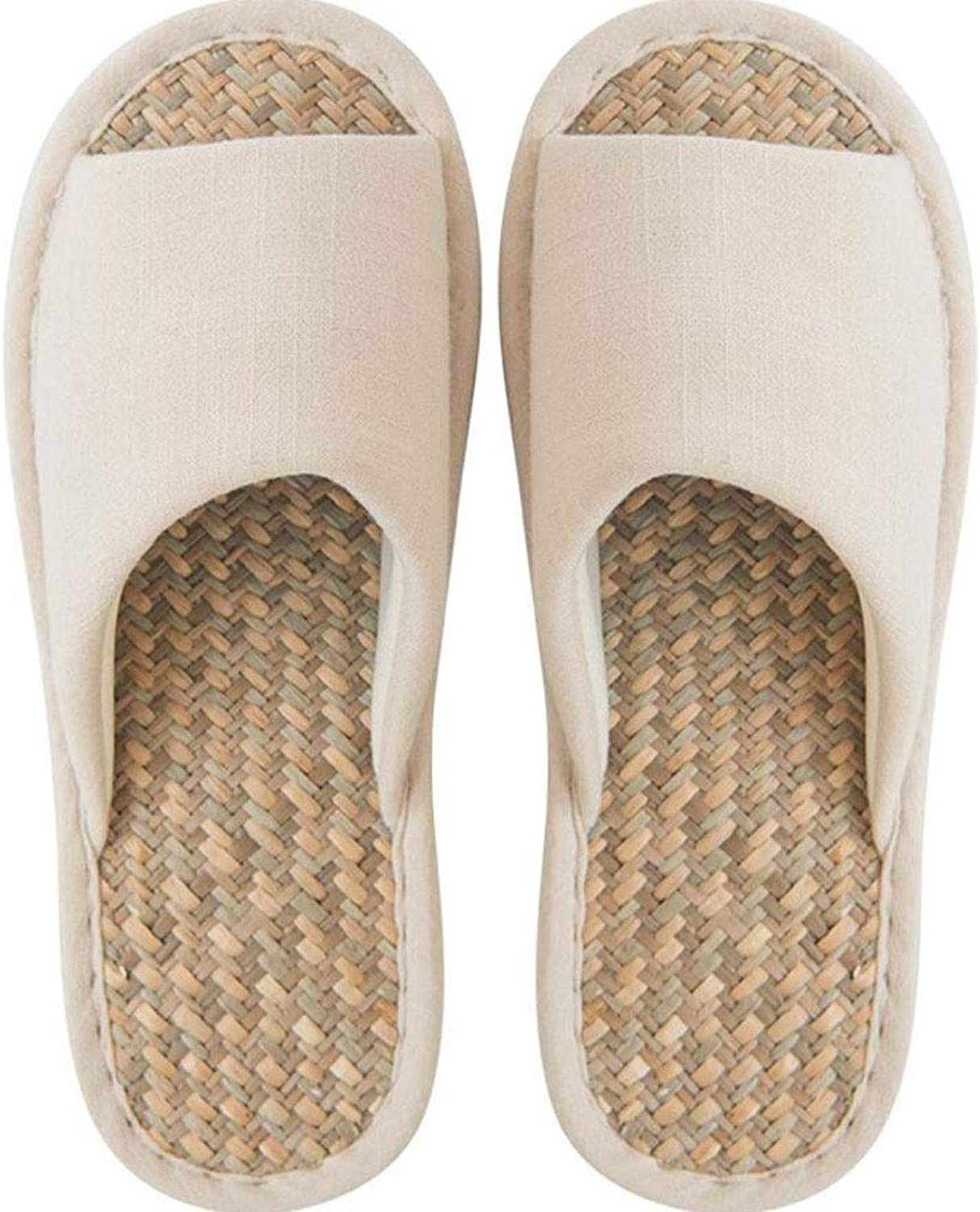 Summer Sandals and Slippers Non-Slip Mats Weave Cool and Breathable Home Indoor Couple Slippers (color   Beige, Size   39)