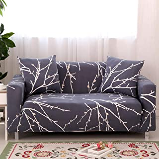 Ihoming Printed Stretch Sofa Slipcover Loveseat Slipcover Couch Slipcover with 2 Free Pillow Covers, 2/3/4/ Seat Sofa Covers Navy (Loveseat, White Branch)