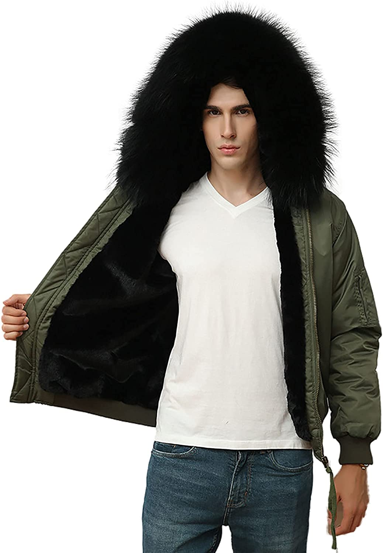 Men's Warm Parka Fur Lined Jacket Winter Coat with Detachable Hood