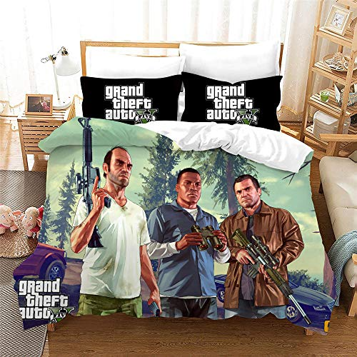 Duvet Cover Single Bed 135 x 200 cm Bedding set by Microfiber GTA5 with 2 Pillowcases 50 x 75 cm with Zipper Printing Duvet Cover set