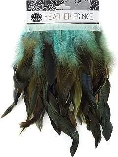 ZUCKER Rooster Schlappens Feather Fringe Trim - 1 yd Half Bronze Aqua Sewing Craft Supplies
