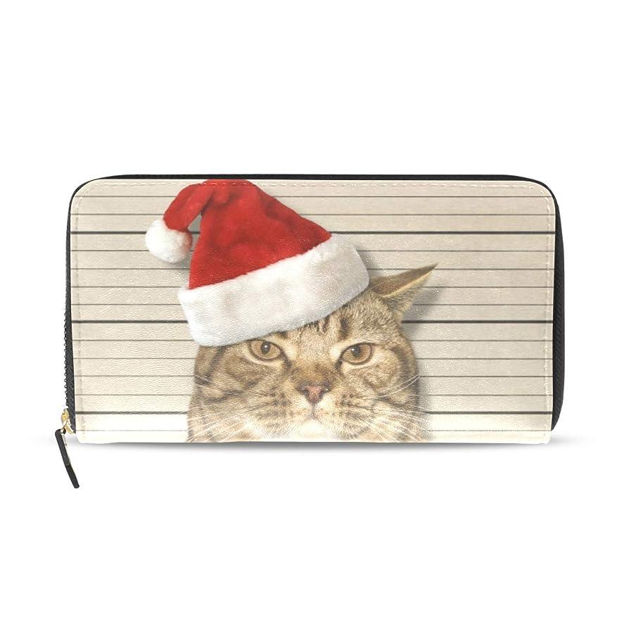 慎重結婚シチリアユサキ(USAKI) 長財布 レディース クリスマス 猫柄 面白い 大容量 レザー ラウンドファスナー おしゃれ コインケース プレゼント