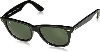 RAY-BAN Unisex-Adult Wayfarer RB2140 Wayfarer Sunglasses, Black, 50 mm