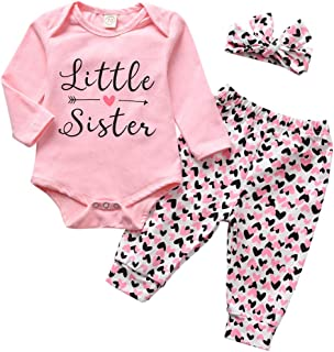 Newborn Baby Girl Clothes Little Sister Bodysuit+Love Pant+Headband 3PCS Outfits