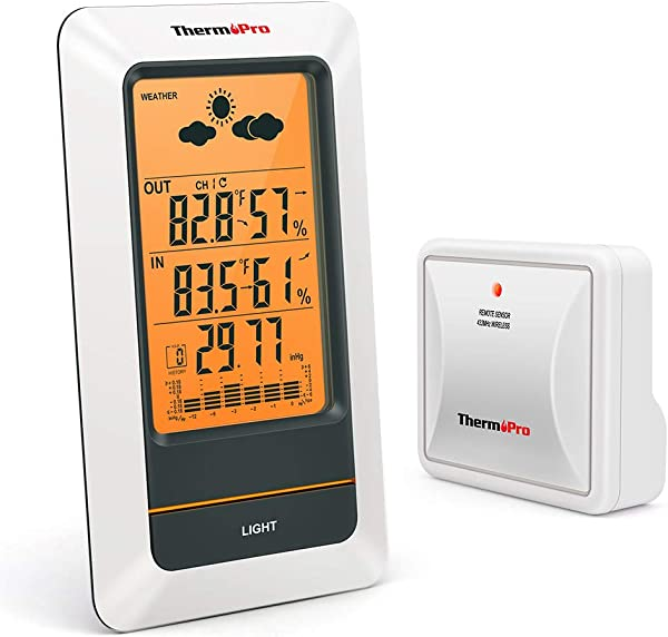 ThermoPro TP67A Rechargeable Indoor Outdoor Thermometer Wireless Weather Station Digital Barometer Hygrometer Humidity Gauge With Cold Resistant And Waterproof Temperature Monitor 330ft 100m Range