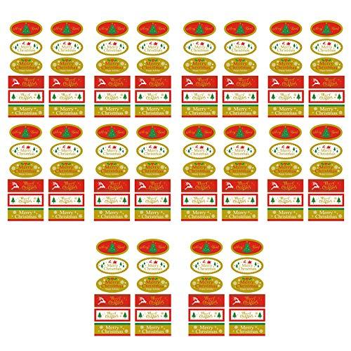 Yunnan 10 hojas de pegatinas adhesivas para sello de Navidad, caja de regalo, para hornear, paquete de boda y negocios