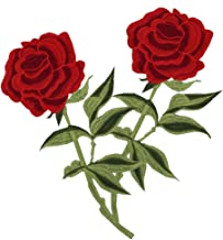 Megrocle 2 PCS Rose Flower Embroidered Iron On Patches, DIY Motif Fabric Applique Decoration Patch Sew on Patches for Jackets Jeans Backpacks Clothing, Girls Tattoo Biker Punk Sequins Badge