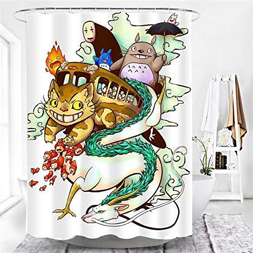 lxianghao Camping Duschvorhang Mit Haken Für Duschvorhang Shower Curtain Polyester Stoff Anime Mein Nachbar Totoro 150 X 180 cm