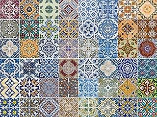 FLFK 48 pcs Mexican Talavera Peel & Stick Vinyl Adhesive Tile Sticker for Kitchen and Bathroom Backsplash Decals 7.87x7.87 Inch (20x20cm)