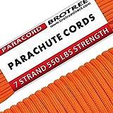 Brotree Paracord Cuerda de Paracaídas de Nylon 550 lbs 7 Resistentes Hebras de Fibra Poliéster para Escalada Kit de Supervivencia Acampada (Estándar, Reflectante)
