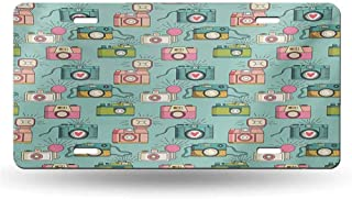 dsdsgog Laser Cut Retro,Cheerful Hipster Pattern with Old Analogue Photo Cameras Doodle Style Film Equipment,Multicolor 12x6 inches,for Vehicles