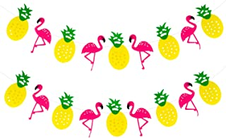 KatchOn Flamingo and Pineapple Banner Garland - No DIY Required, 2 Pack | Flamingo Party Supplies | Pineapple Party Decor, Hawaiian Luau Beach Summer,Felt