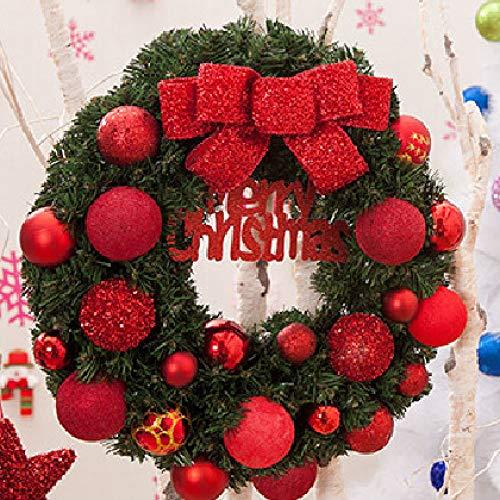 JRZSZMD Kerstkranen, creatieve kunstmatige krans rode strik kerstballen handgemaakte simulatie slinger vrolijk kerstfeest venster deur muur opknoping Decor