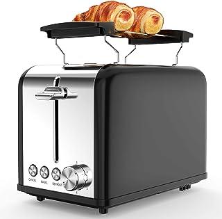 morpilot Grille Pain Noir Vintage Toaster Grille-pain Inox avec 2 Fentes, Support Viennoiserie, 6 Niveaux de Brunissage, D...