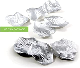 We Can Package 300 Silk Rose Petals for Wedding Centerpieces Decorations Aisle Runner Confetti Flower Petals (Silver)