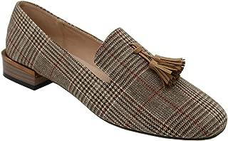 Modenpeak Women's Tassel Suede Loafers Square Toe Plaid Moccasins Ladies Dress Shoes