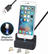 Auswaur Nylon Braided 3 in 1 Magnetic Phone Charge Dock Desktop Charging Station Docking Cradle Compatible with IP and Micro-USB Android Type C Mobile Devices (1M-Black)