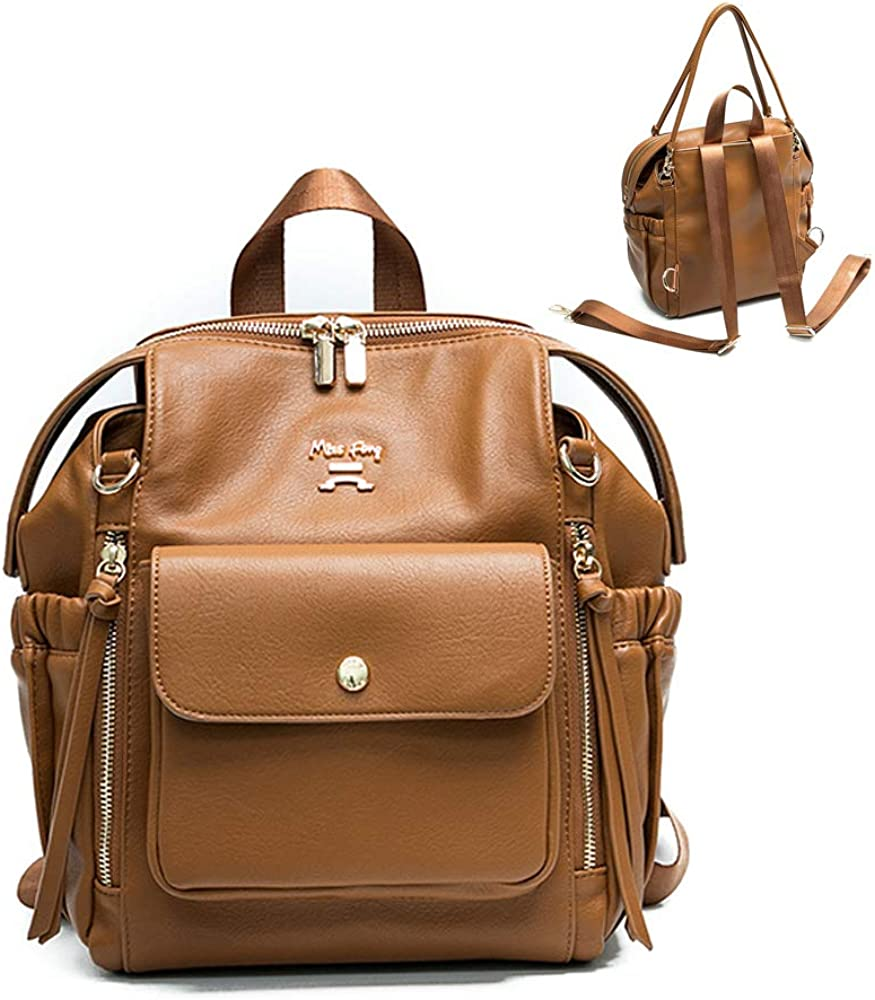 Leather Mini Diaper Bag Backpack by miss fong, Small Mini Backpack Purse for Women