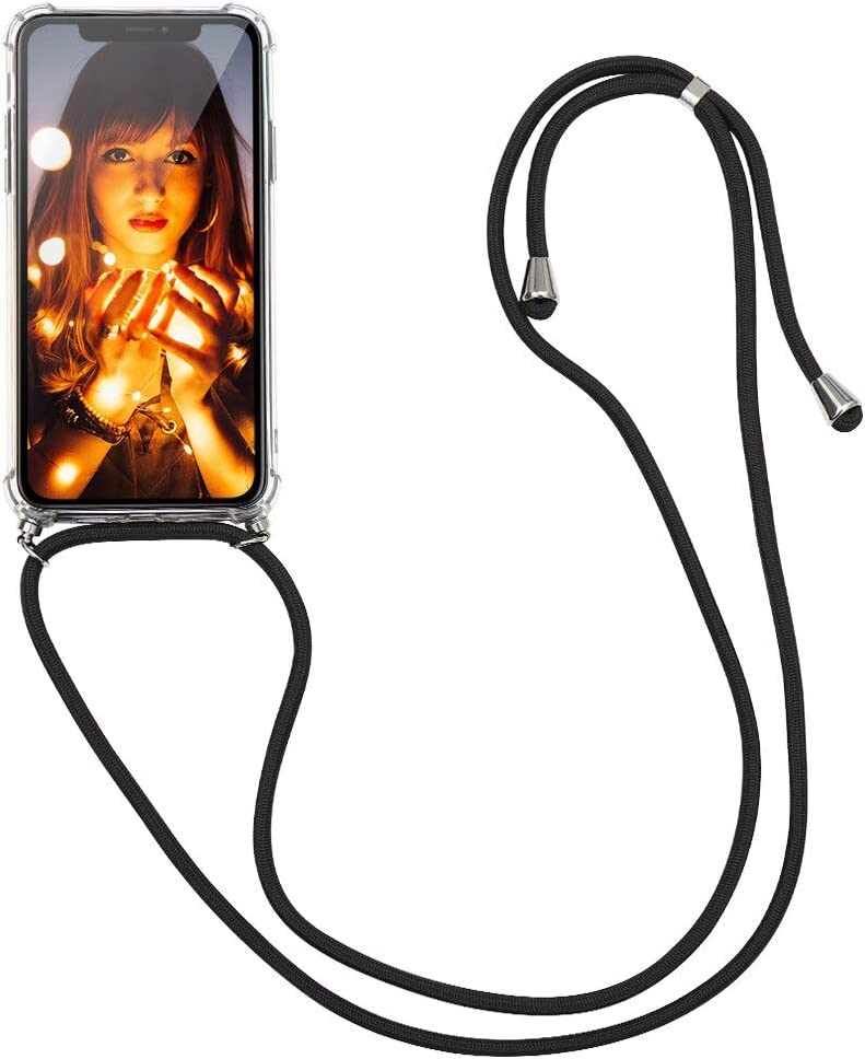 KAPUCTW Necklace Transparent Airbag for Xiaomi Mi 11 Lite Case 6.55 inch - Fashion Clear TPU Cell Crossbody Phone Mobile Cover Holder with Cord Strap Neck Lanyard, Protective Shock Bumper, Black