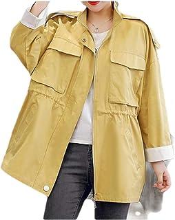 neveraway Women's Trim-Fit Pure Colour Rain Jacket Zipper Smocked Waist Overcoat