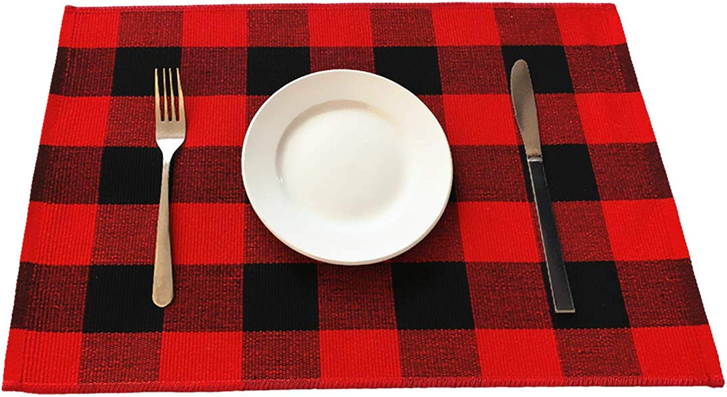 Levinis Cotton Red Plaid Placemats Set Of 6 Durable Buffalo Check Place Mats For Kitchen Table Easy To Care Machine Washable