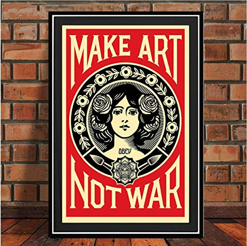 tgbhujk Posters and Prints Make Art Not War Pop Art Vintage Poster Wall Art Picture Canvas Painting for Room Home Decor 42x60cm Without Framed