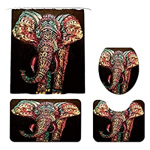 Boho Elephant Shower Curtain Sets with Non-Slip Rugs, Toilet Lid Cover and Bath Mat, Bohemia Africa Animal Shower Curtains with 12 Hooks Durable Waterproof Bath Curtain