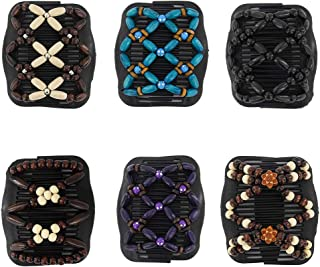 Yeshan Magic Hair Side Combs for Women Wood Beaded Stretch Double Hair Side Combs Clips Bun Maker Hair Accessories,Pack of 6