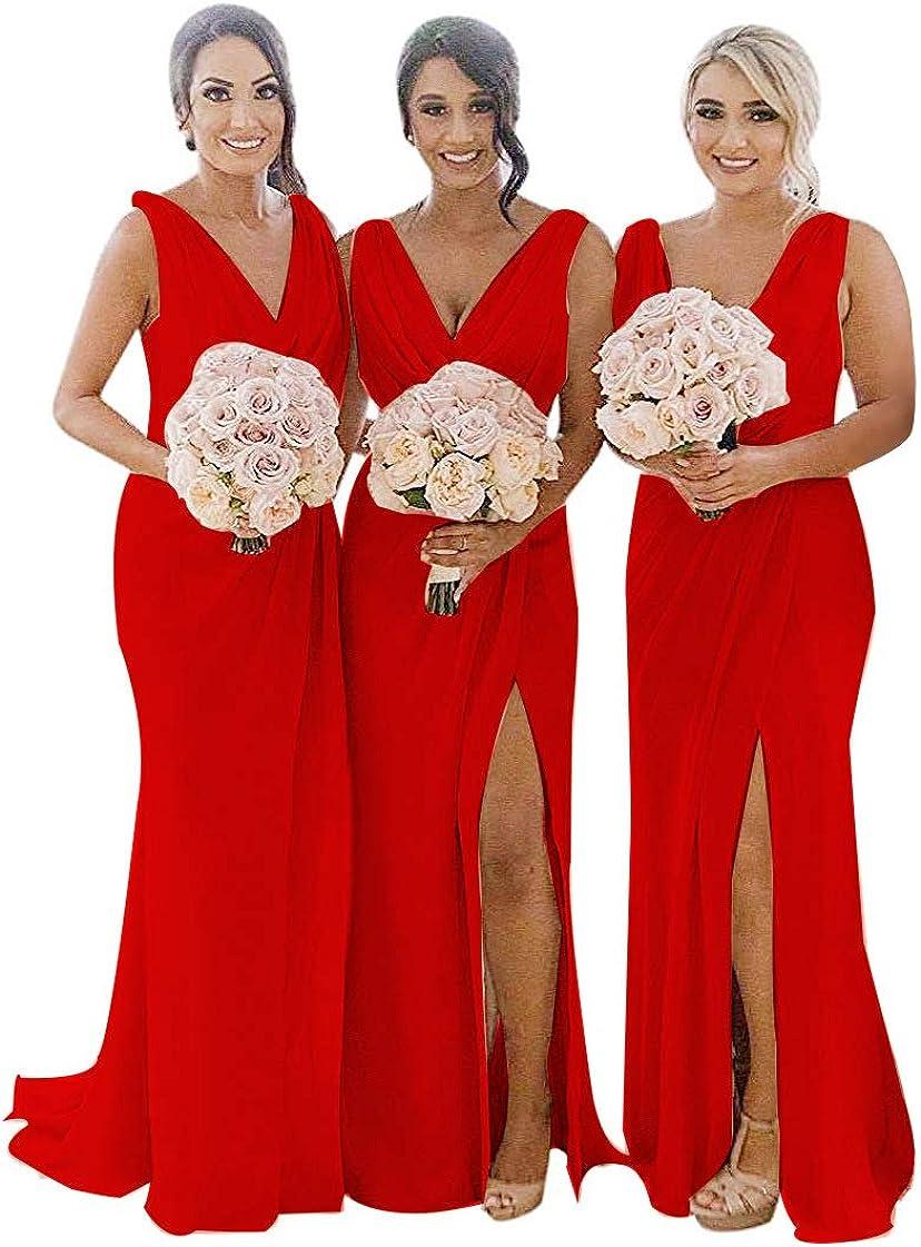 MARSEN Women Ruched 在庫あり Chiffon Bridesmaid V Dresses Long with ランキングTOP5 Slit