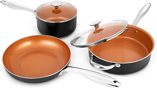 MICHELANGELO Copper Cookware Set 5 Piece Ultra Nonstick Pots And Pans Copper With Ceramic Interior Copper Nonstick Cookware Set Ceramic Pot And Pans Set Copper Pots And Pans Copper Pots Set 5Pcs