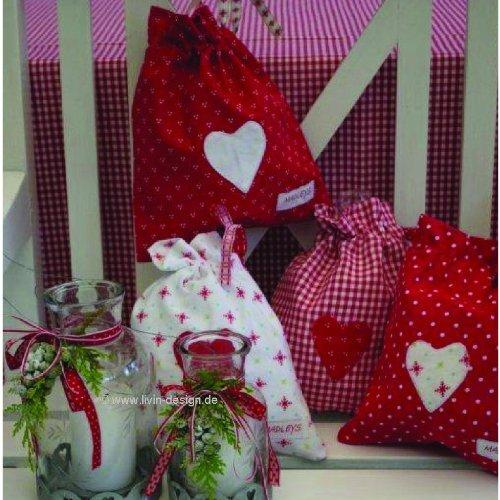 Sac pochette en forme de cœur motif étoiles blanc/rouge 25.5 x 22 cm