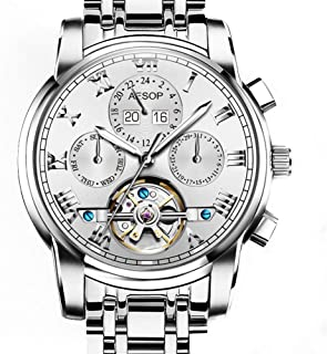 Aesop Luxury Skeleton Men Day Date Analog Automatic Self Winding Mechanical Wrist Watch with Steel Band Luminous Waterproof Silver White