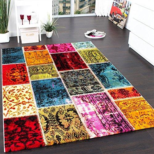 Teppich Modern Designer Teppich Patchwork Vintage Multicolour Grün Rot Gelb Blau, Grösse:120x170 cm