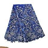Aisunne African Lace Fabrics 5 Yards Nigerian French Lace Fabric with Fashion Embroidered Flower for Wedding Party Dresses (Blue)