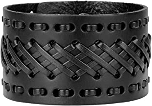 Jeilwiy Punk Leather Wristbands for Men Bracelets Handmade Wide Cuff Bangle Braided Jewelry Black Brown Adjustable - Teen Girls Boys Punk Father's Gifts