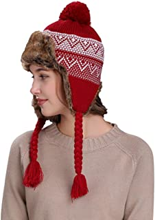 Sannysis Women's Warm Winter Hat With Ear Flaps Ski Thick Knit Wool Beanie Cap
