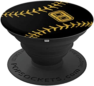 Baseball Softball Player Jersey No 8 Gold Pop Socket Gift - PopSockets Grip and Stand for Phones and Tablets