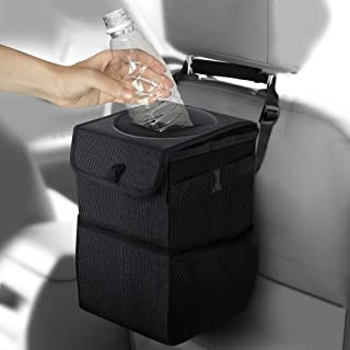 Frebw Car Trash Can with Lid, Car Trash Bag Hanging for Headrest,Car Garbage Bag Organizer with Storage Pockets,Collapsible and Portable Car Organizer,Proof Vinyl Inside Lining (1.58 gal)