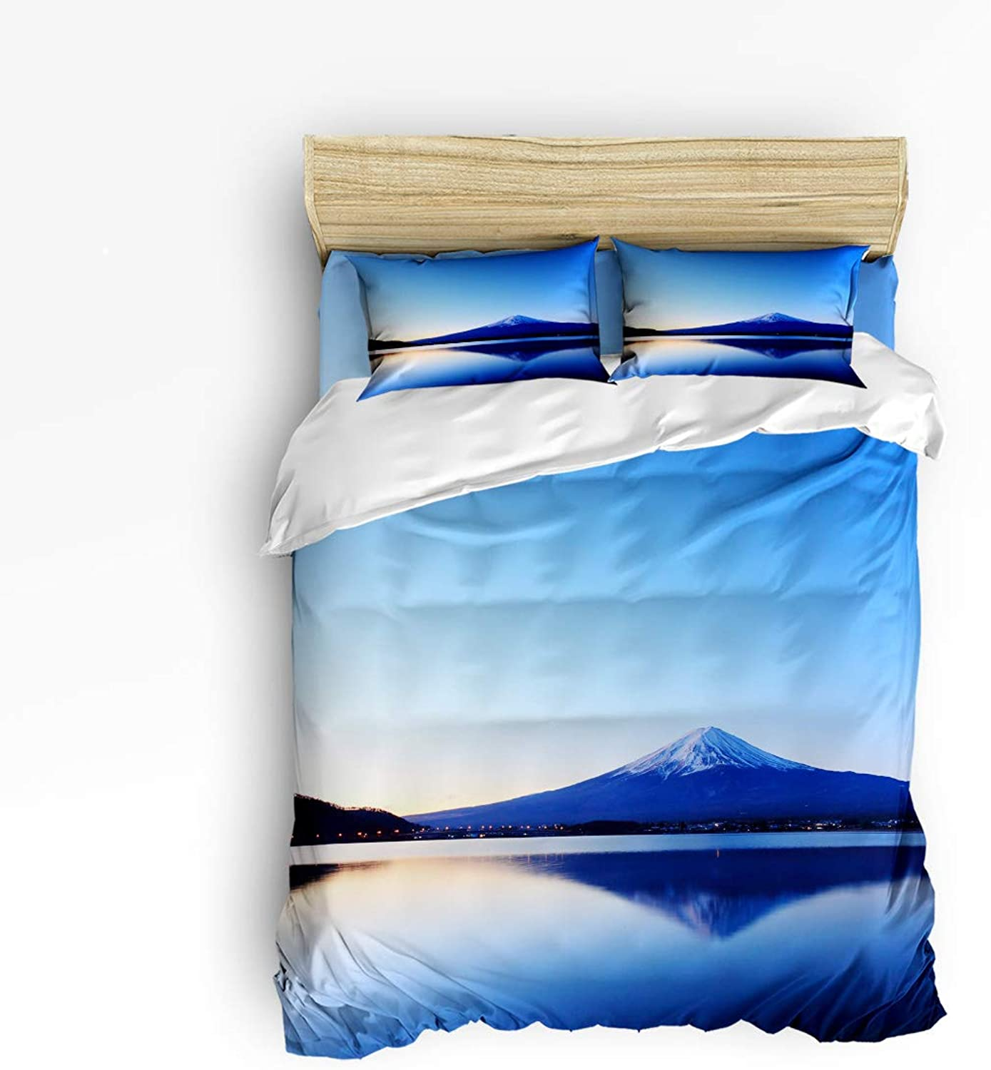LEO BON Duvet Cover Set Twin Size Snowy Mountain Fuji Lake View Picture Print Floral Duvet Cover and Pillow Shams Bed Set