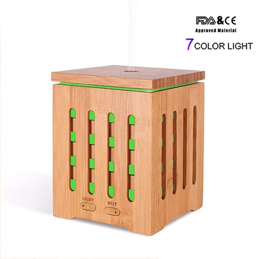 スペード血まみれ癒す200MLリアル竹エッセンシャルオイルディフューザーアロマテラピー空気加湿器7色LEDライトホームワークスSPA健康的