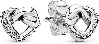 Pandora Jewelry Knotted Heart Stud Cubic Zirconia Earrings in Sterling Silver