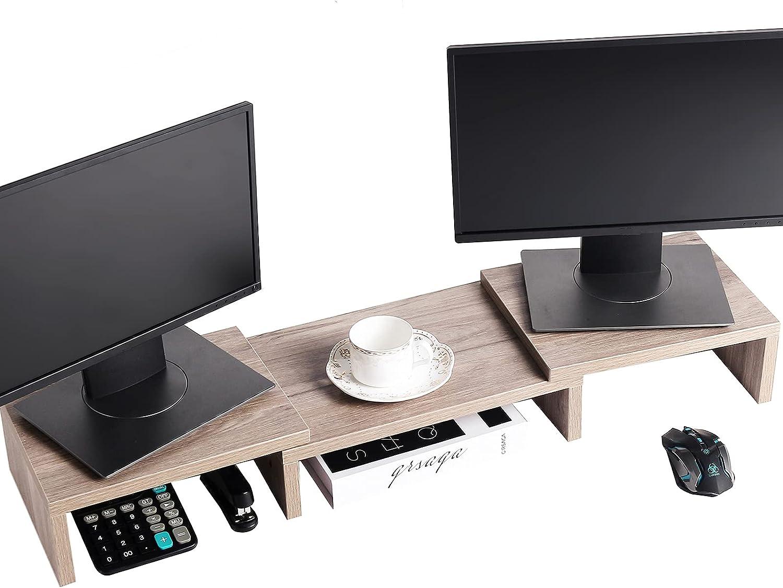 SUPERJARE Monitor Stand Riser, Adjustable Screen Stand for Laptop Computer/TV/PC, Multifunctional Desktop Organizer - Cream Gray