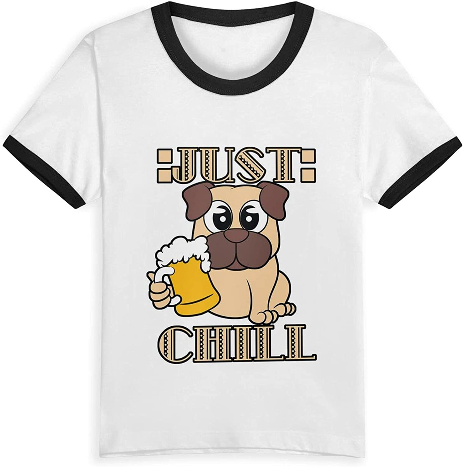 Pug Drinking Beer Just Chill T-Shirts Novelty for Girls Tees with Cool Designs